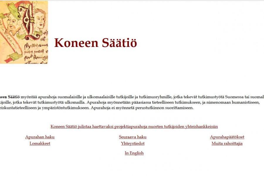 Hanna Nurminen teki itse säätiön ensimmäiset verkkosivut. Oppia hän haki kurssilta ja pergamenttia markkeeraavan taustavärin (joka ei valitettavasti näy kuvakaappauksessa) kopioi amerikkalaiselta sivustolta.