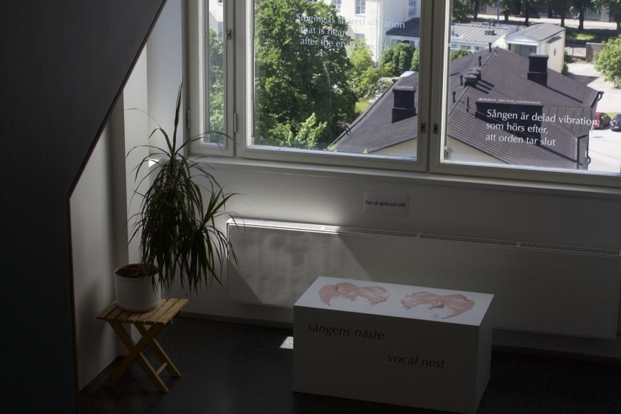 Kuva Heidi Fastin Laulunpesä-teoksesta HYKS Psykiatriakeskuksesta. Kuvaaja: Karolina Kucia