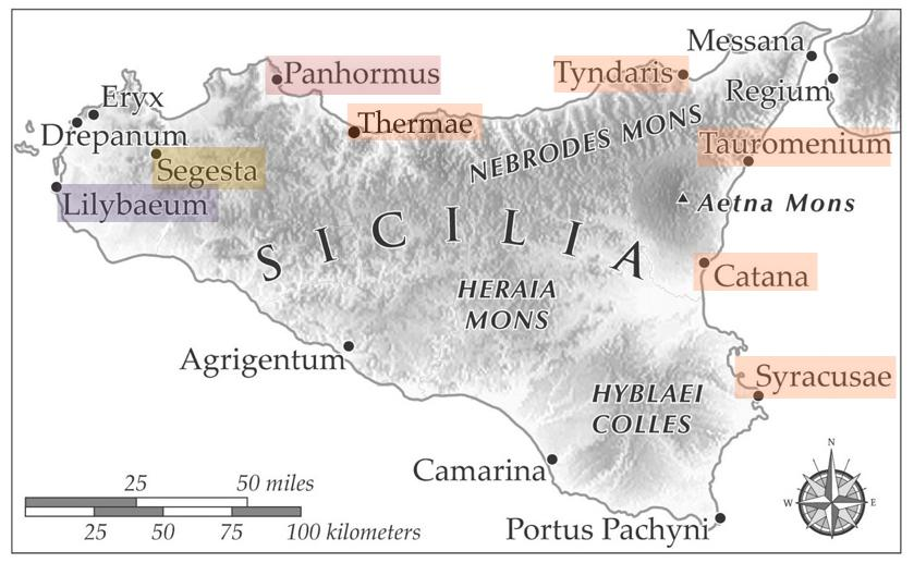 Roman colonies in Sicily (source: Ancient World Mapping Center, modified by the author)